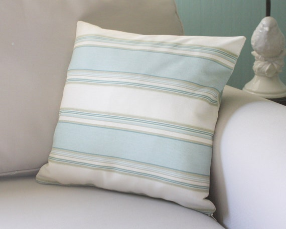 BLACK FRIDAY SALE - beach glass stripe pillow cover - beautiful on both sides - 16x16
