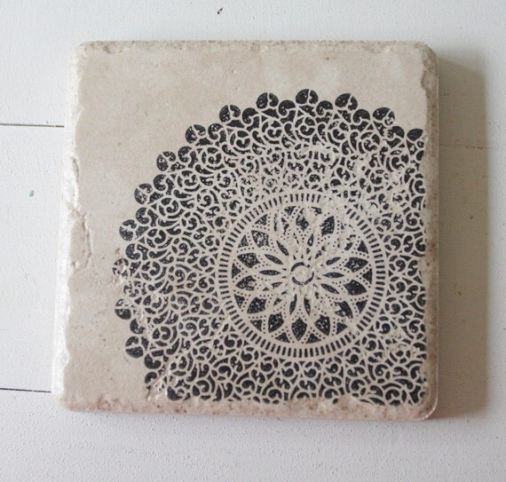 black lace print coasters - set of 4