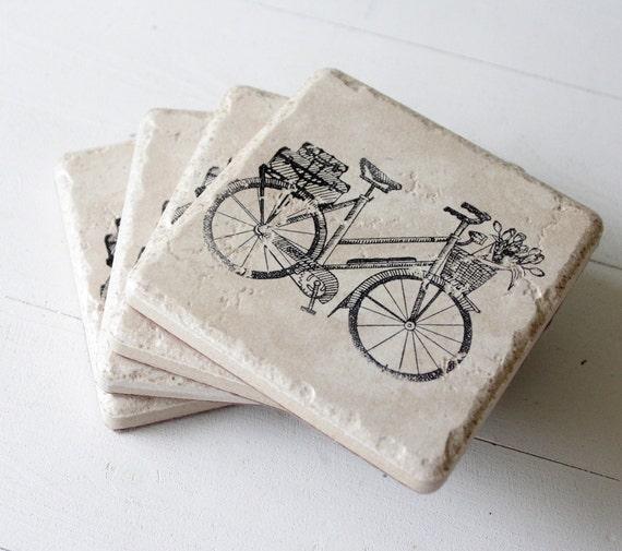 bicycle coasters - set of 4