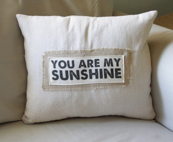 You are my Sunshine pillow cover by TheShabbyCreekShop on Etsy