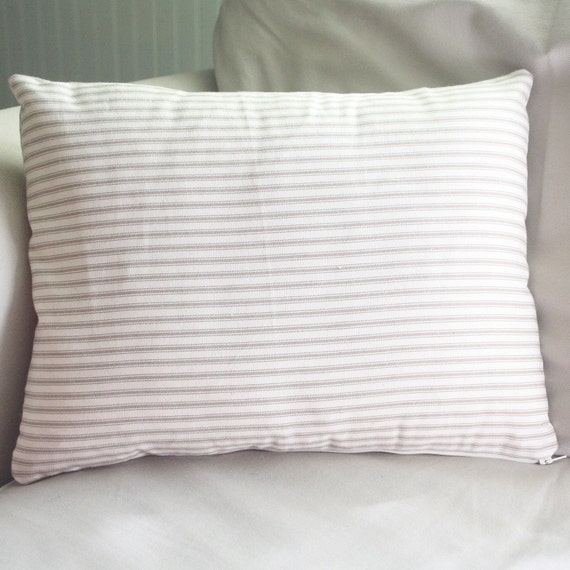 french inspired shabby and chic tan and cream ticking 13x16 lumbar pillow cover