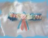 Aqua and Pink Garter Toss CB w Rose  ((SALE))