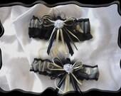 Grey Colored Camo Black Garter Set w Boa ~~~SALE~~~