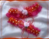 Hot Pink and Orange Polka Dot Garter Set WB  ((SALE))