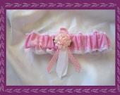 Pink Organza Wedding Garter Toss Made with Florida Fabric -- SALE--
