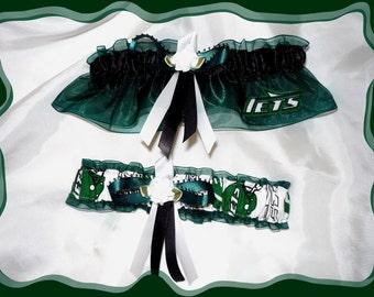 Hunter Green Organza Wedding Garter Set Made with New York Jets Fabric Vintage