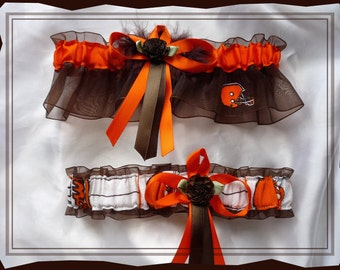 Brown Organza Wedding Garter Set Made with Cleveland Browns Fabric BB