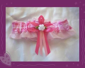 Pink Organza Wedding Garter Keepsake Made with Florida Fabric ~~~SALE~~~~