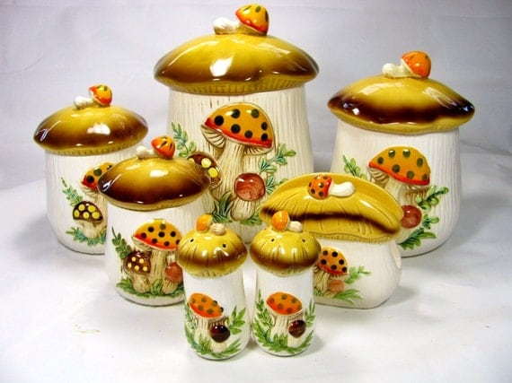 1980s Sears Roebuck and Co. MERRY MUSHROOM CANISTER Set with Napkin Holder and S & P Shakers