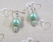 Handmade Silver and Mint Green Pearl Filigree Earrings