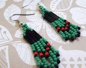 Handmade  Dark Green Red and Black Earrings