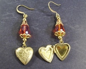 Red Faceted Crystal and gold Filigree Photo Locket Earrings