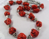 Big Dark Red chunky Turquoise nuggets /silver heart  Necklace  OOAK  Gift