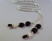 Black Onyx Discs and Silver Chain Eyeglass Lanyard