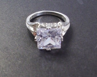St. Silver Ring / 8.23 ct CZ Princess Cut Stone Size 6.50