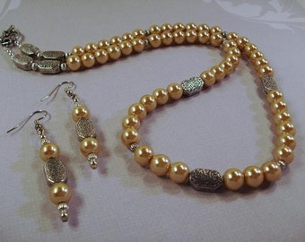 Handmade Bronze Pearl Necklace and Earrings