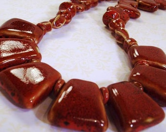 Handmade Red Porcelain  Necklace Hearts and Flowers