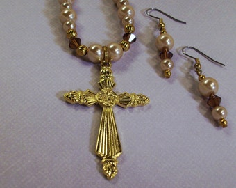 Handmade Bronze Pearls Necklace /Crystals with Cross Pendant  and Earrings