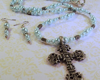 Handmade Baby Blue Pearls  Necklace /Cross and Earrings