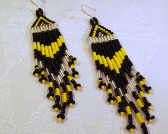 Handmade Black,Silver and Yellow Glass Earrings Allotta Patience