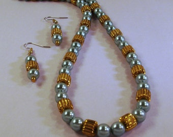 Gold and Teal Pearl Necklace and Earrings
