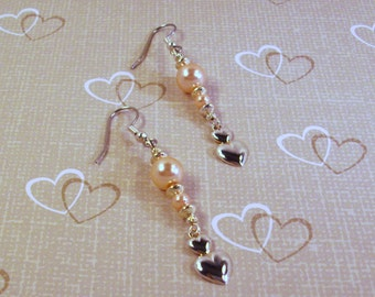 Pink Pearls and Silver Hearts Earrings