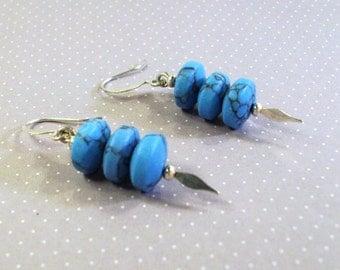 Handmade Turquoise Discs/ Spear Earrings