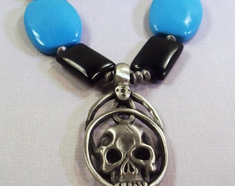 Large Blue Turquoise and Black Skull Necklace Great for Him
