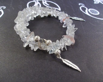 White and Pink Quartz Silver Memory wire Bracelet with Feather Drops