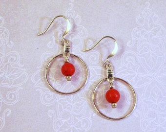 Silver Hoop Earrings with Red Turquoise Drops