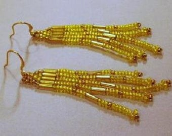 Yellow and Gold Glass Earrings
