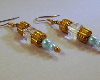 Gold and Aqua Blue Pearl and Gold Earrings with Crystals