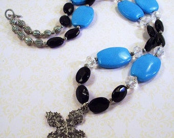 Large Blue Turquoise/  Black Faceted Beads and Crystal Necklace with Cross Pendant