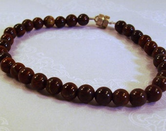 Brown Gemstone Bracelet with Magnetic Clasp