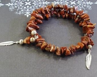 Handmade Red Jasper Gemstone Bracelet with Silver Feather drops