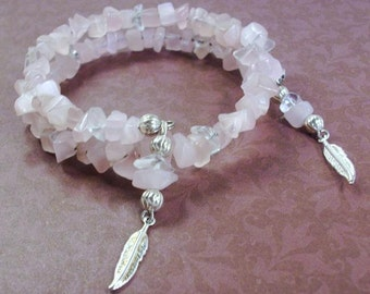 Pink Quartz Gemstone Bracelet with Silver Feather Drops