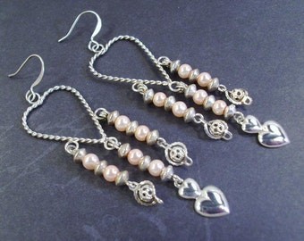 Silver Twisted Heart Pink Pearls with Filigree and Heart