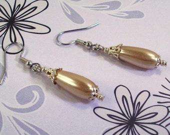 Bronze Pearl and Filigree Teardrop Earrings