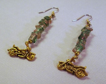 Green and Pink Glass Chips with Gold Motorcycle earrings