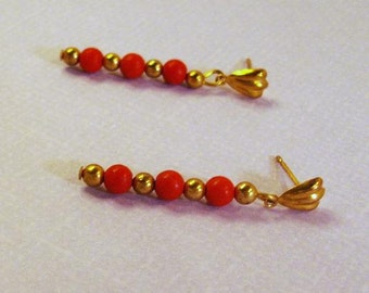 Red turquoise gemstones with gold posts earrings