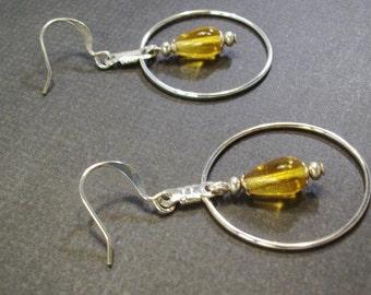 Silver Hoop with Topaz teardrops earrings