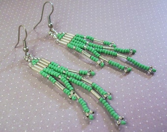 Green and Silver Glass  Earrings A Little Patience