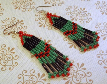 Dark Green, Red and Black  Glass Earrings   Some Patience