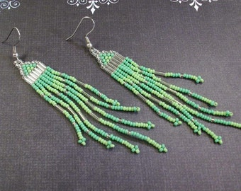 Silver and  two toned Green Seed Bead Earrings Some Patience