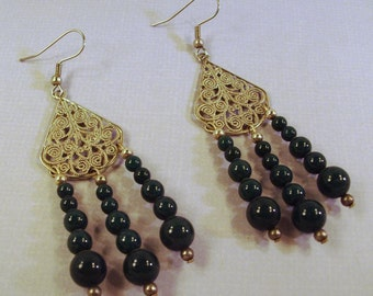 Dark Christmas Green Gemstones and Silver Filigree Hidden Heart Earrings