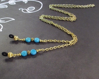 Teal Blue Turquoise Beads and Gold Chain Eye Glass Lanyard For Him or Her