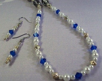 White Pearl Necklace / Blue Swarovski Crystals  and Earrings