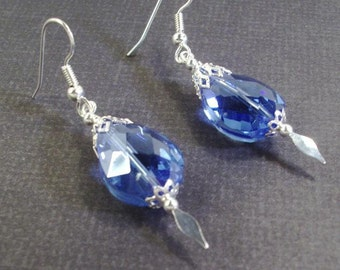 Large faceted Blue Crystal Silver Speared Earrings