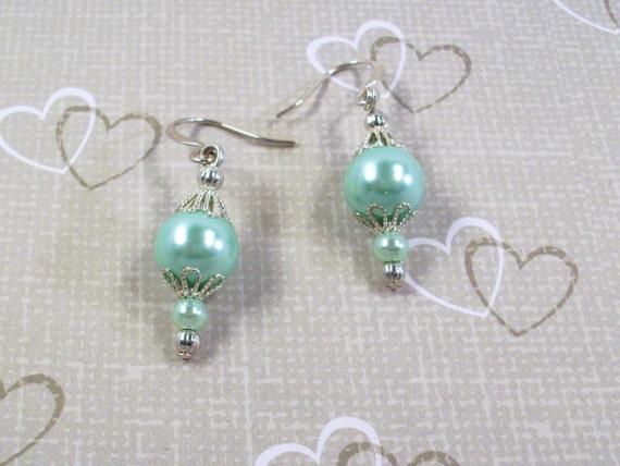 Handmade Silver and Mint Green Pearl Filigree Earrings