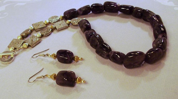 Silver and Amethyst  Gemstone Necklace and Earrings
